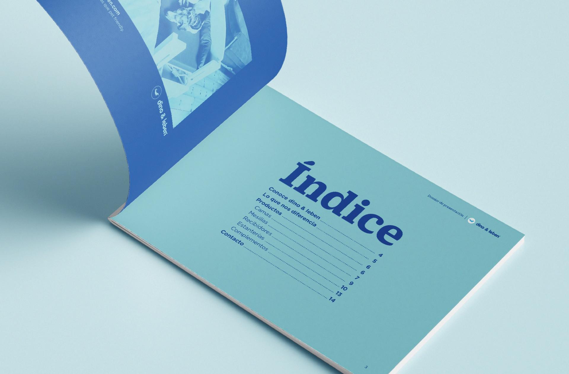 Editorial Dossier de presentación de productos dino & leben.