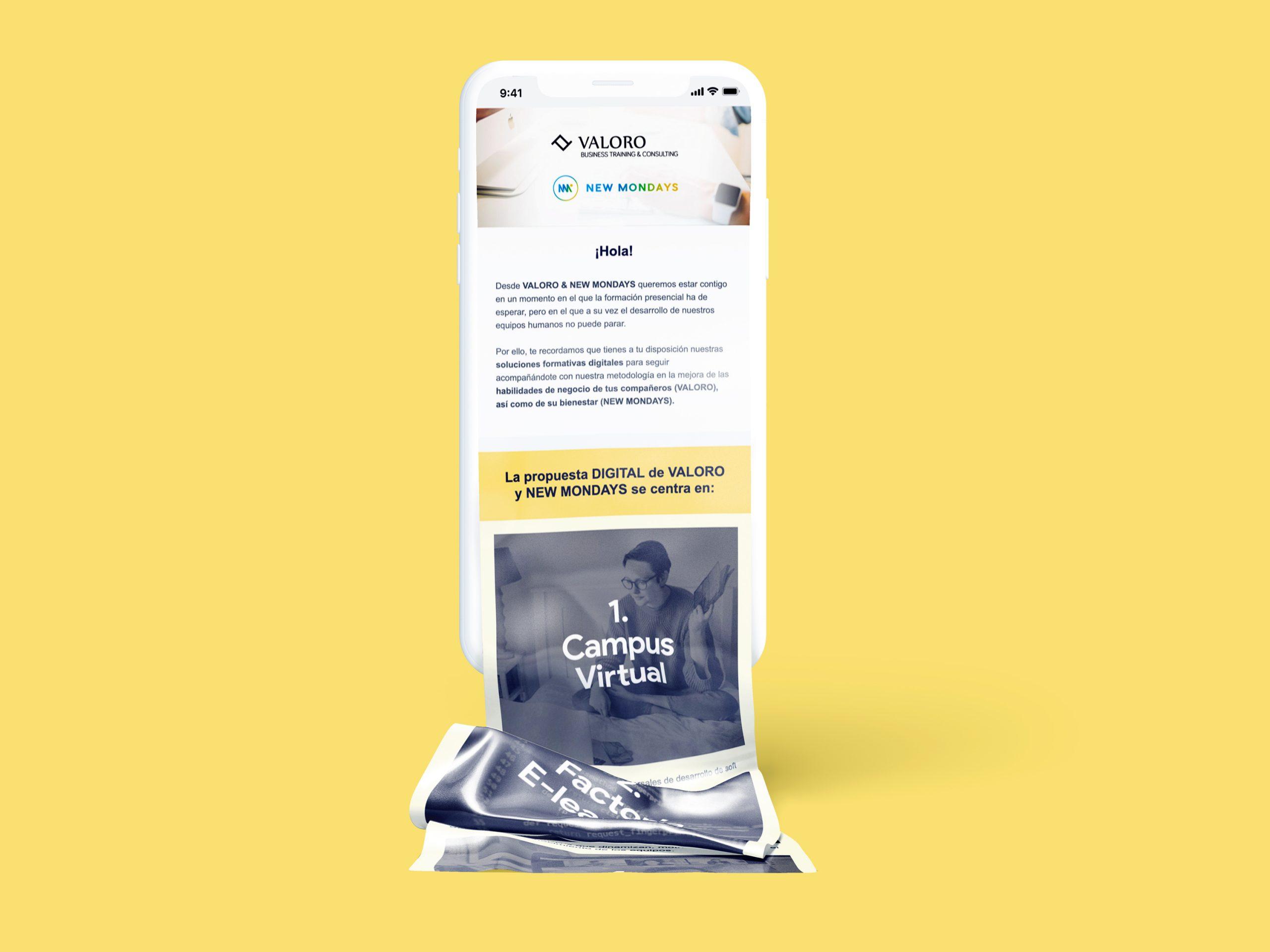 Campaña de mailing para Valoro y New Mondays